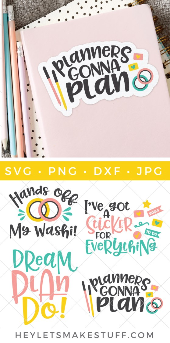 Are you a planner fan? You're going to love these Planner SVG files! Perfect for the cover of your planner or turning into stickers using Print then Cut and your Cricut!