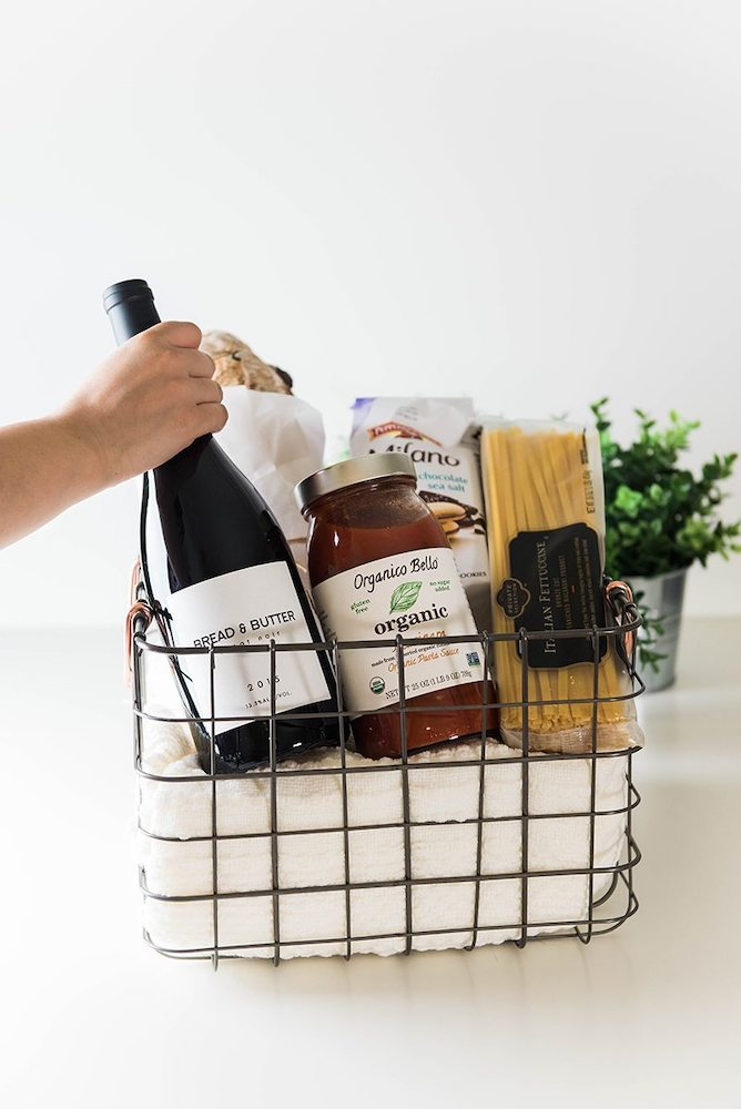Date night in new mom gift basket