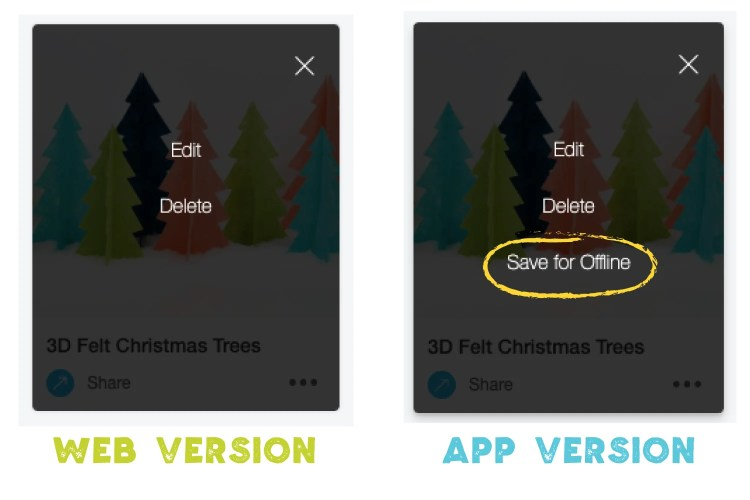 "Web version vs app version with ""Save for offline"" circled"
