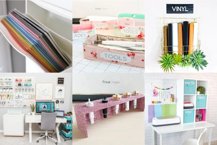 Drowning in rolls of vinyl? Can't find your Cricut tools? You need to organize your Cricut supplies! I've rounded up the best Cricut storage and organization ideas so that you can find what you need the first time—and get back to crafting more quickly!
