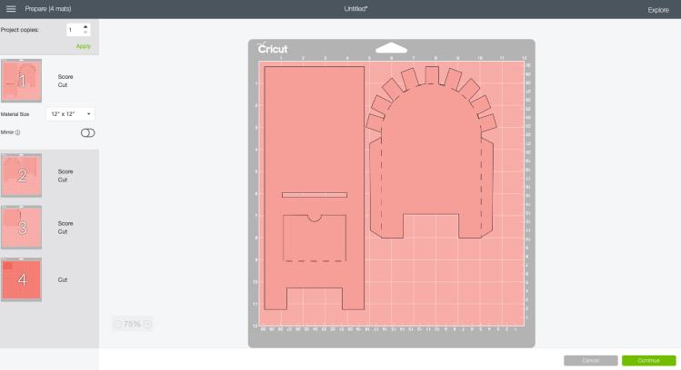 Prepare screen in Design Space with the valentine's day box pieces.