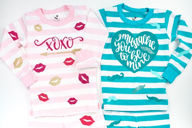 Valentine's Day pajamas, made with your Cricut Explore or Cricut Maker, are a fun way to celebrate the holiday with your kids! Get the files to make these fun Valentine's Day PJs, plus tips and tricks for using Cricut iron on.