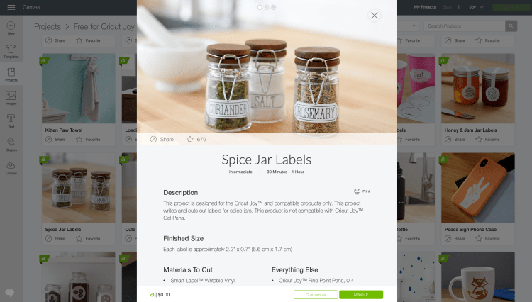 Navigate to and choose the spice jar project in Cricut Design Space.