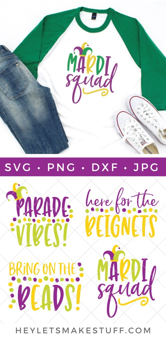 Get ready to celebrate with these four Mardi Gras cut files. They are the perfect way to decorate a tee or tote to celebrate Fat Tuesday!