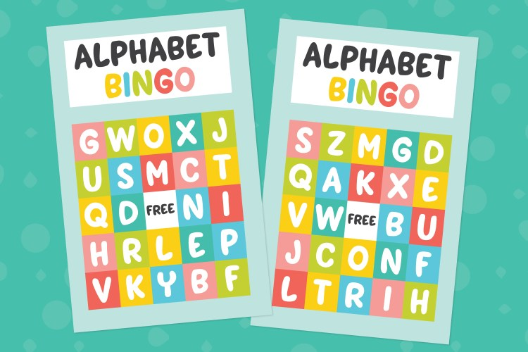 Alphabet bingo cards on a teal background