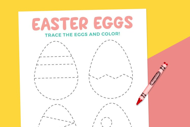 Easter egg tracing worksheet on pink and yellow background
