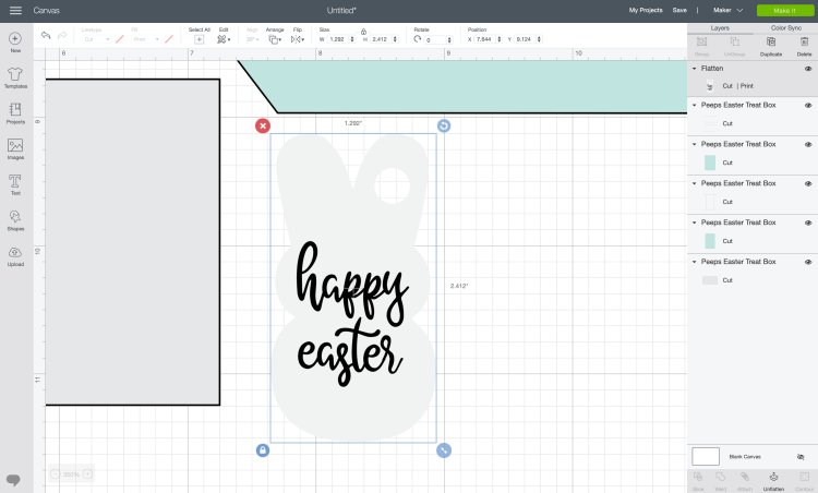 Flatten text and Easter bunny tag