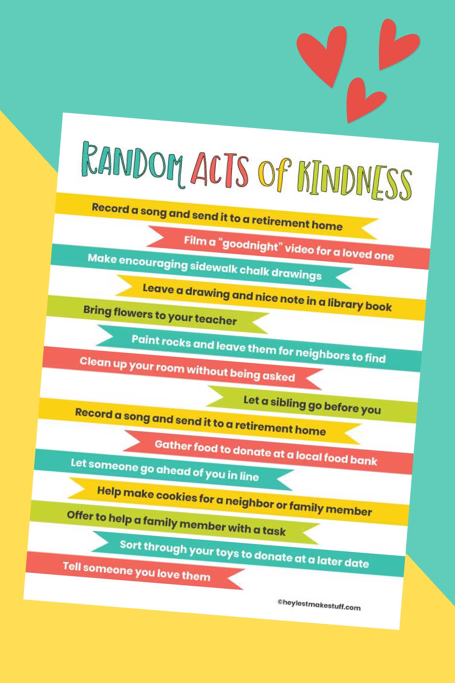 Random Acts Of Kindness For Kids Printable