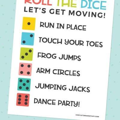 Printable Roll the Dice Exercise Game for Kids