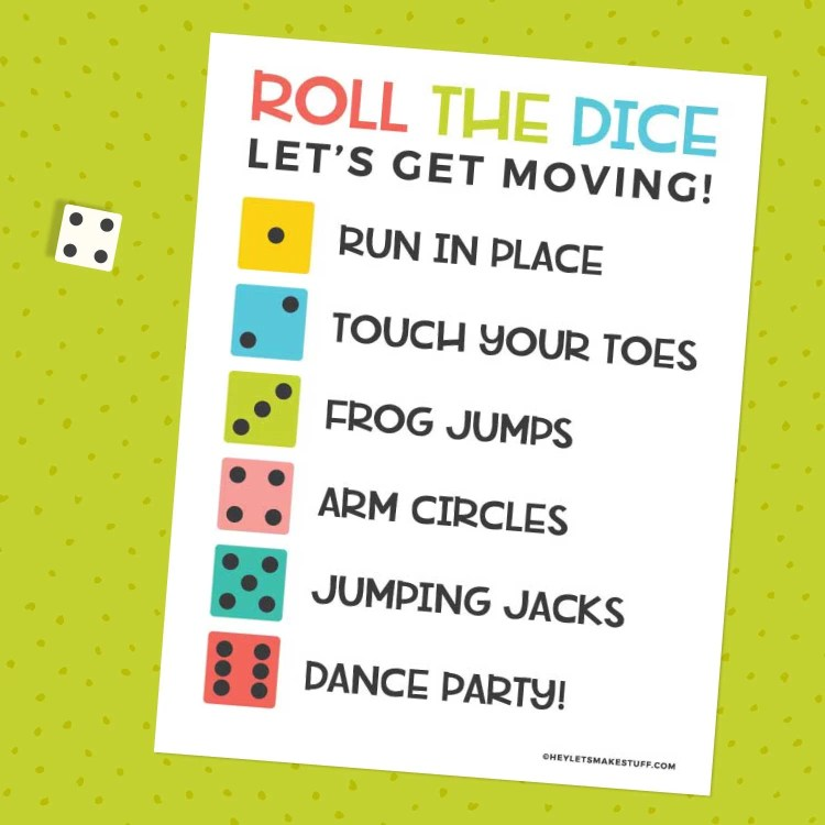 Roll the Dice Exercise Game on a green background with a die