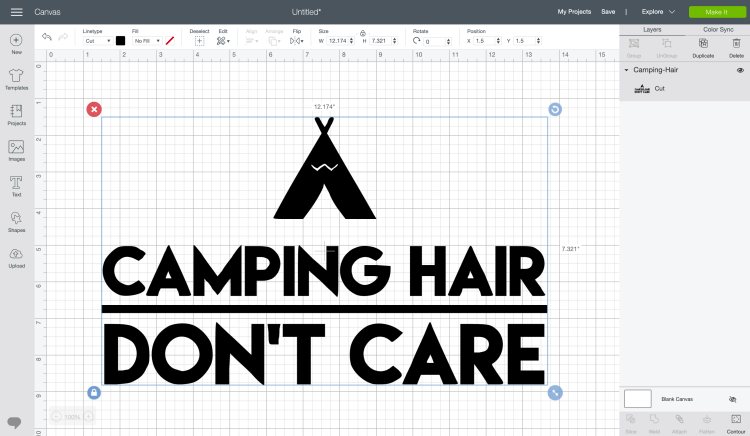 Camping Hair Don't Care pixel file on Cricut Design Space canvas