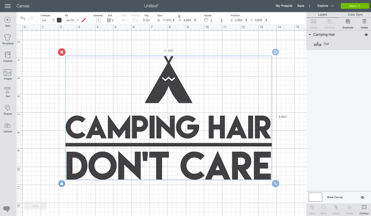 Camping Hair Don't Care vector file on Cricut Design Space canvas