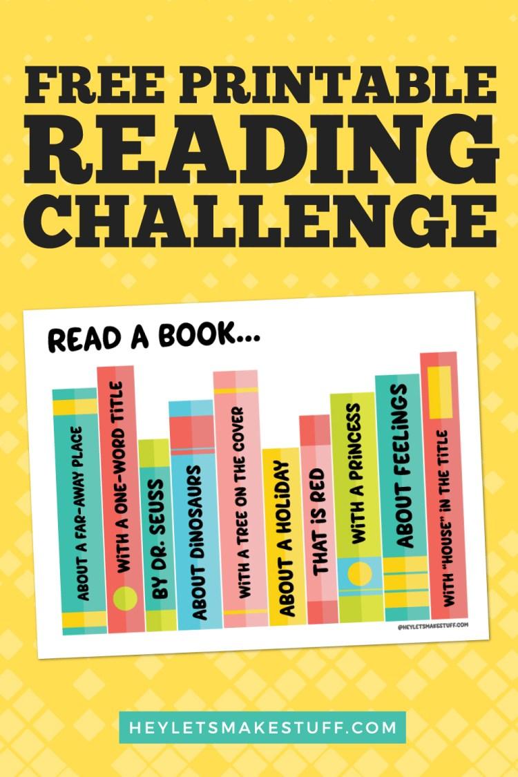 Free printable reading challenge pin image