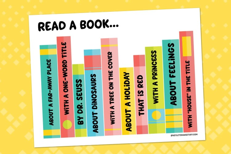Printable reading challenge on a yellow background.
