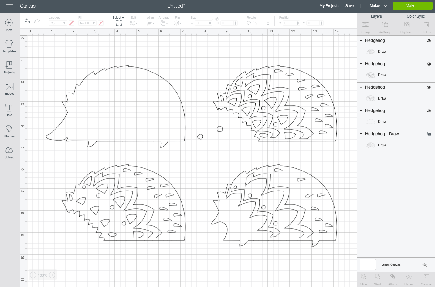 Cricut Design Space: Four different layers of the hedgehog file