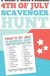 Add a little entertainment to your Fourth of July with this printable scavenger hunt! It's perfect for backyard barbecues or as an easy activity for the kids to do while they wait for fireworks!