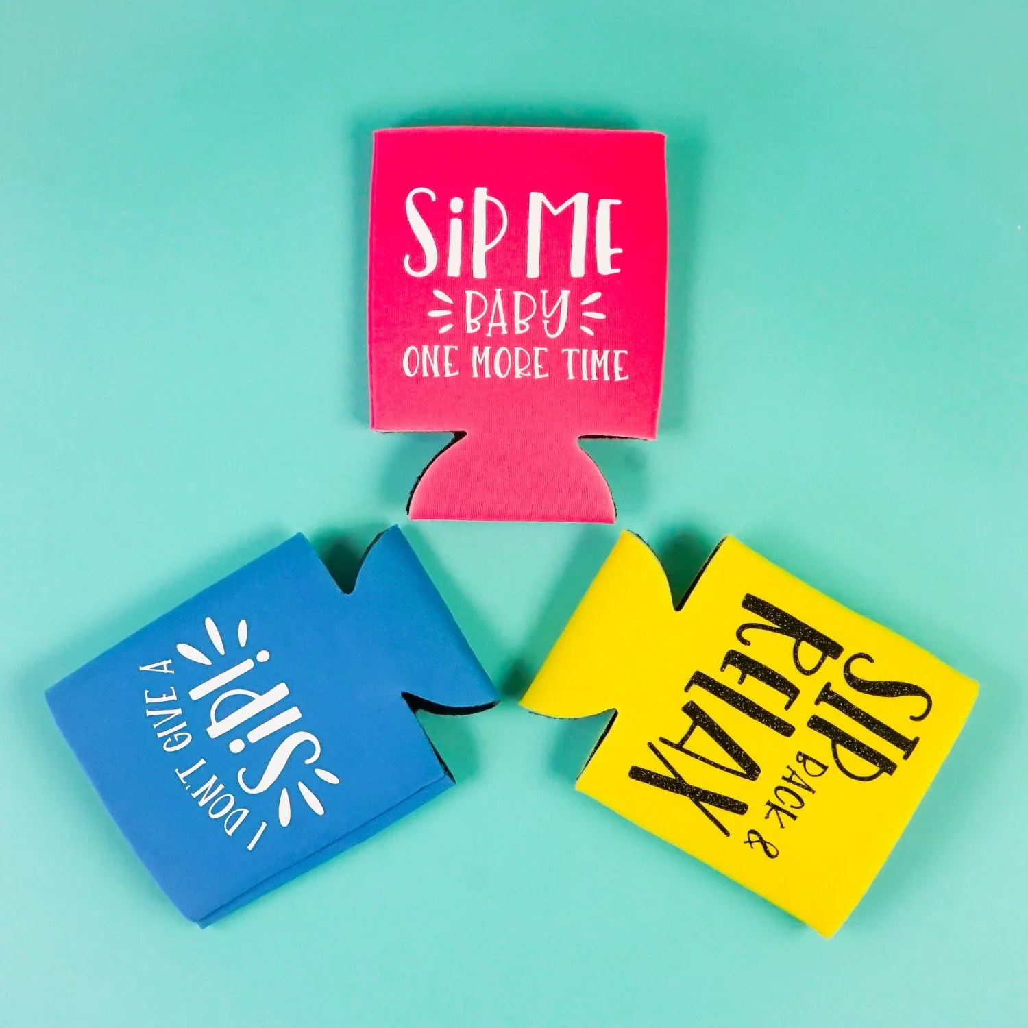 How To Make Cricut Can Koozies With Iron On Vinyl Hey Let S Make Stuff