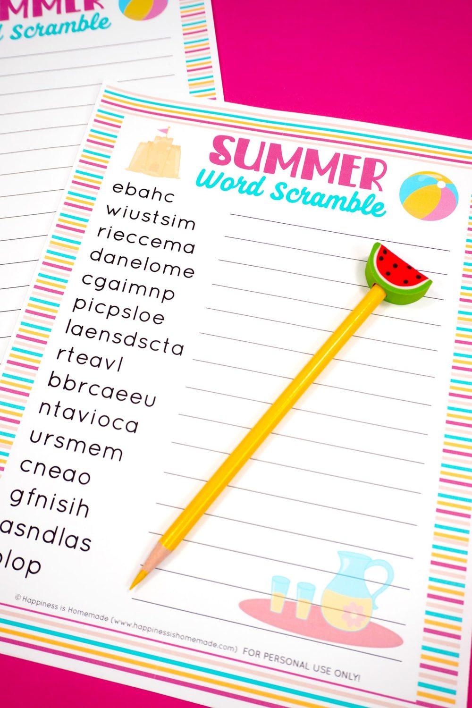 summer word scramble printable game