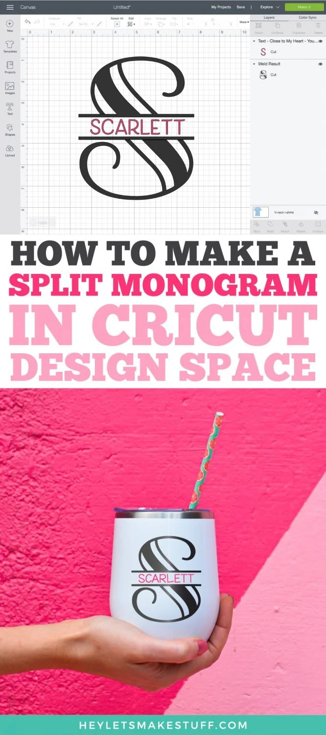 How to make a split monogram in Cricut Design Space pin image.