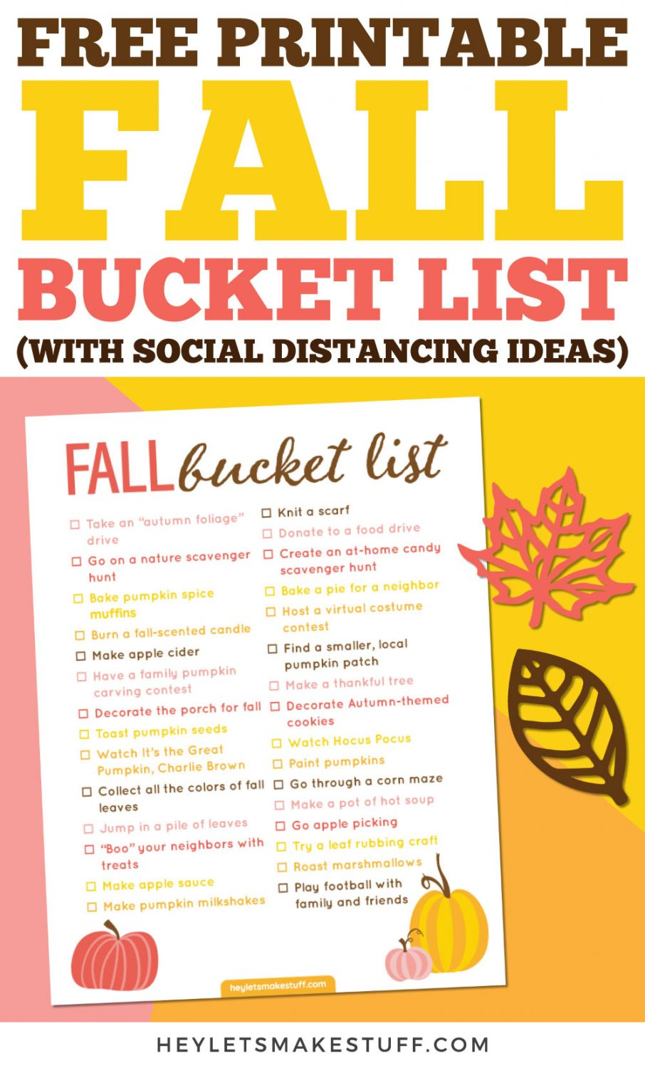 Free printable fall bucket list (with social distancing ideas) pin image