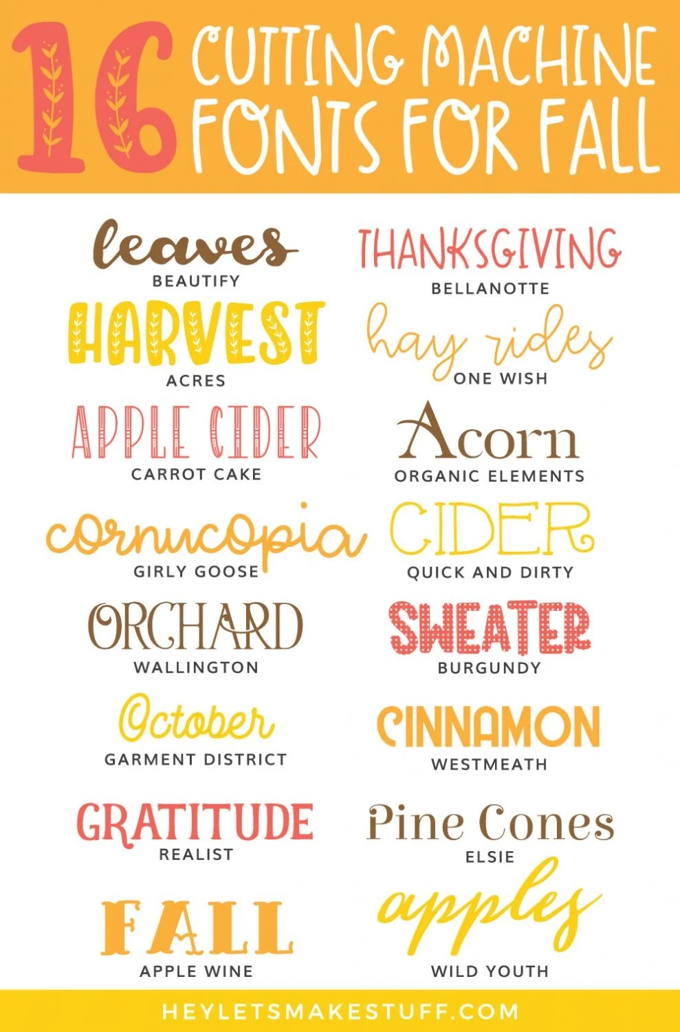 Cutting Machine Fonts for Fall pin image