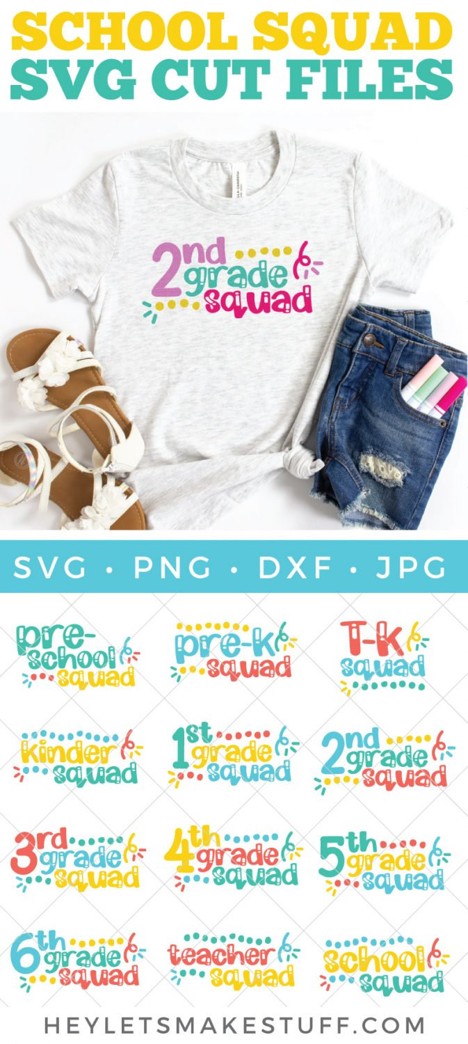 Get ready to head back to school with this school squad SVG bundle! Complete with school squad SVG files for grades preschool through sixth grade and even includes SVG files for our teachers, too!