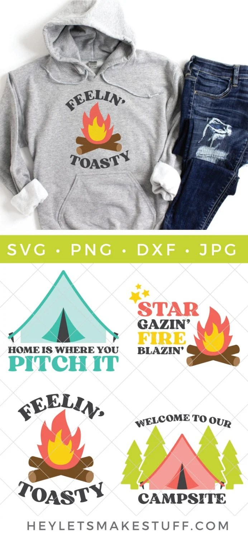 camping SVG files pin image