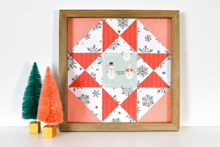 No sewing skills are necessary to make this beautiful Christmas Paper Quilt Block Artwork! Just use your Cricut to cut from paper and assemble in a frame using glue!