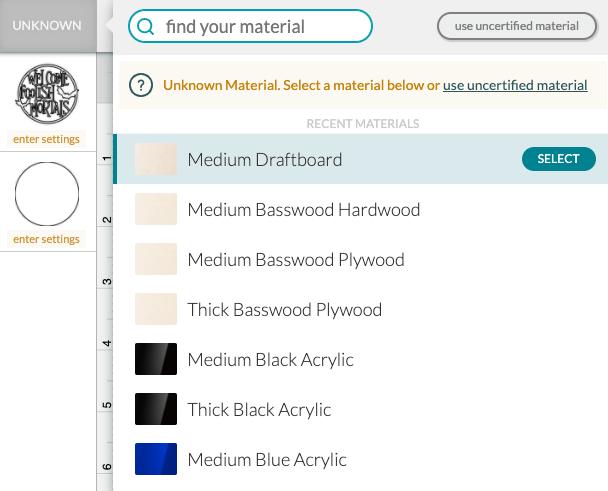 Screenshot of changing material settings