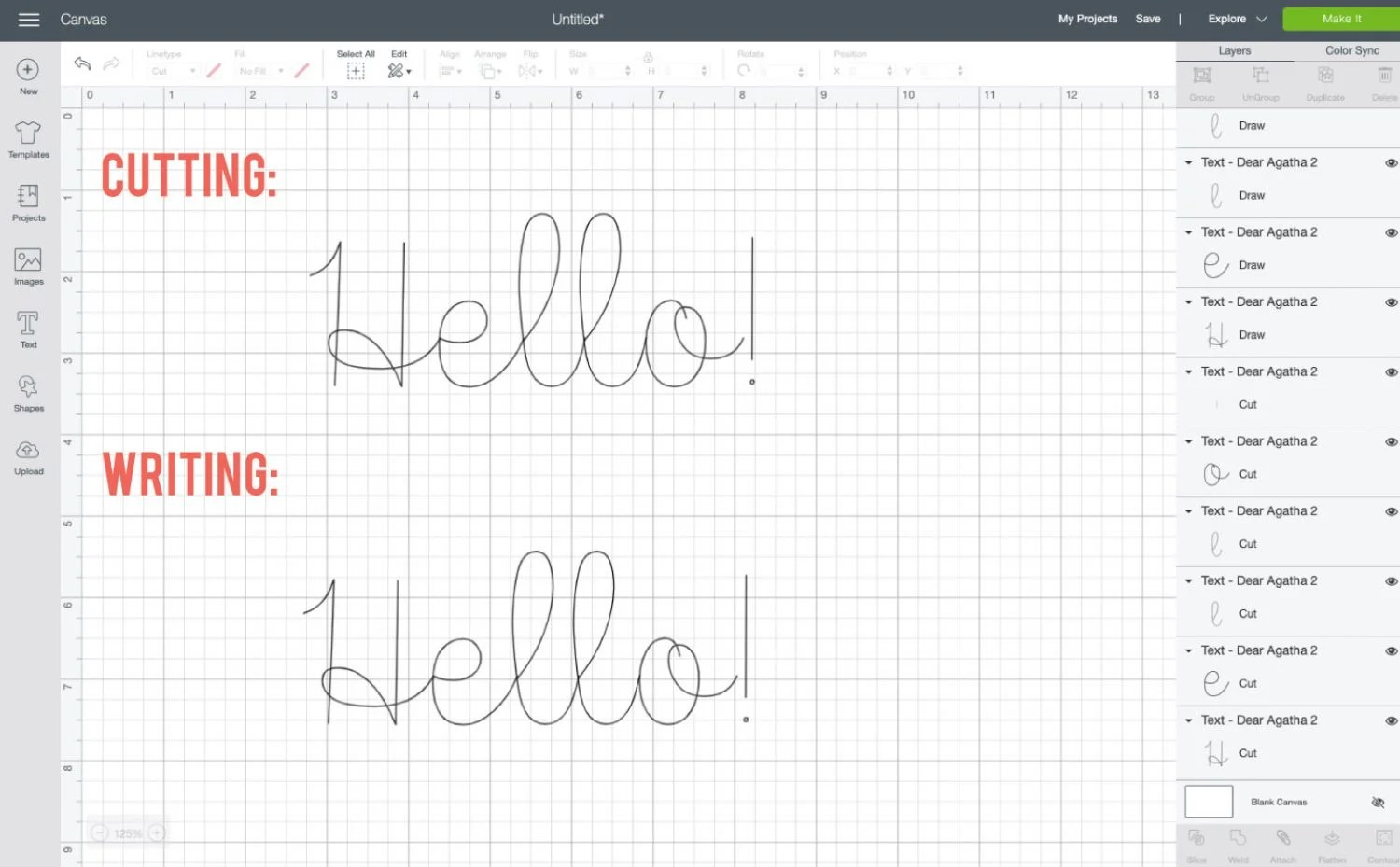 Comparison of single line font Dear Agatha cutting and writing in Design Space