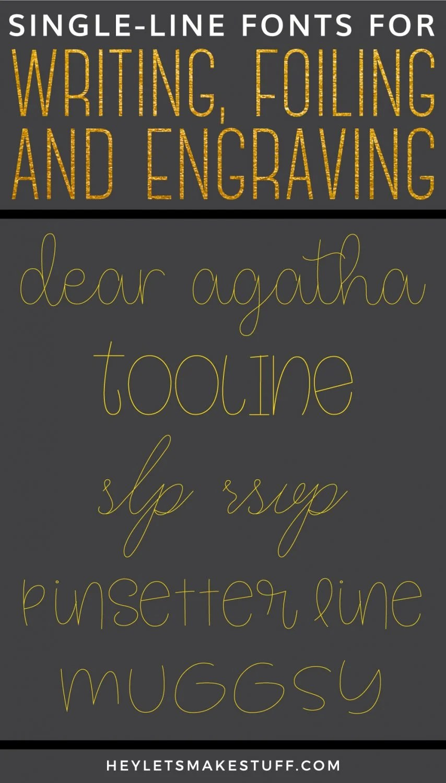 Single Line Font : single, Single, Fonts, Writing,, Engraving,, Foiling,