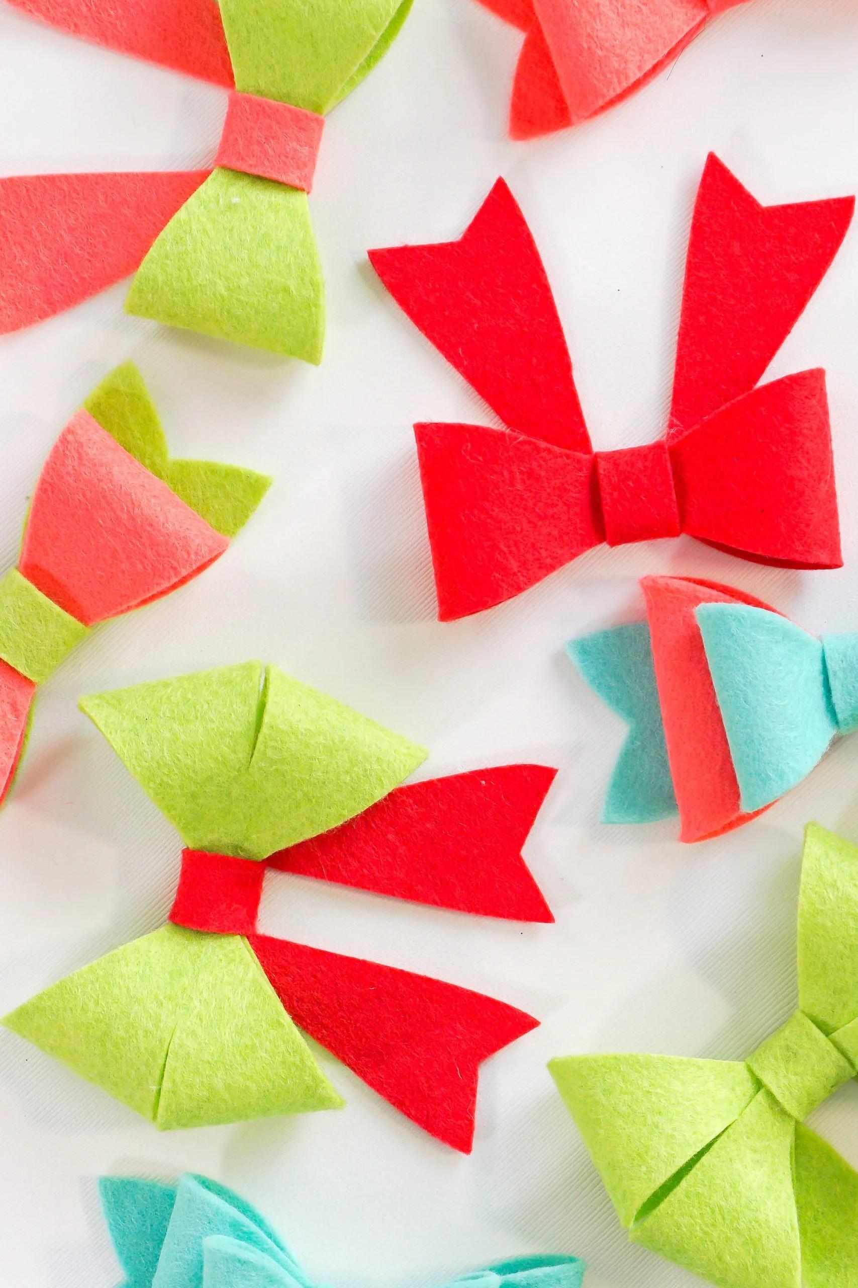Colorful felt bows