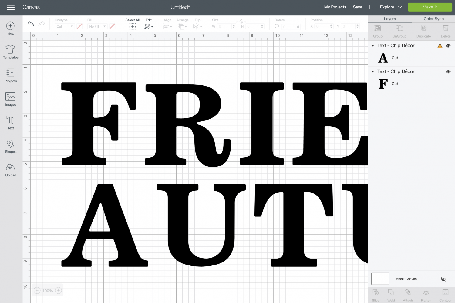 Cricut Design Space: add a second word for the back if you'd like