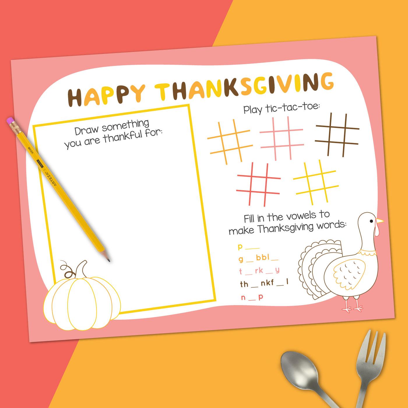 Printable Thanksgiving Placemat mockup