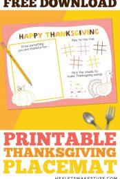 Printable Thanksgiving Placemat Pin Image