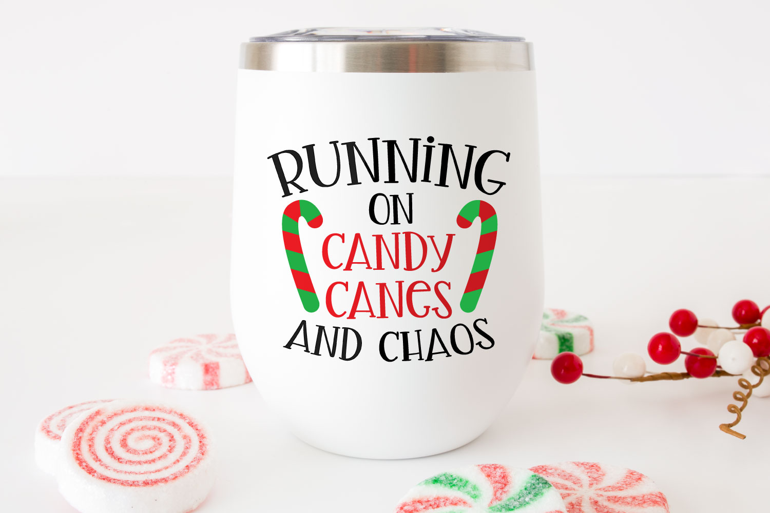Running on Candy Canes & Chaos SVG on wine tumbler