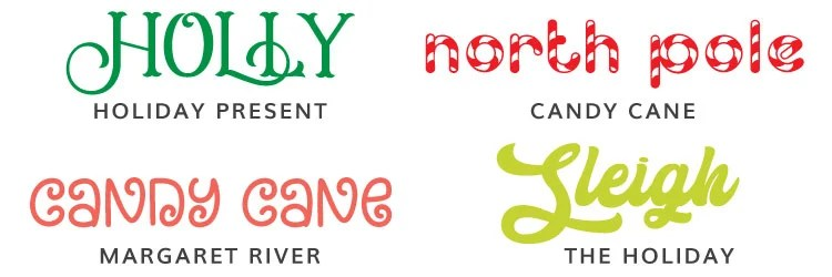 Christmas Fonts: Holiday Present, Candy Cane, Margaret River, the Holiday