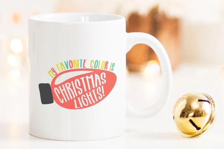 My Favorite Color is Christmas Lights SVG on white mug.