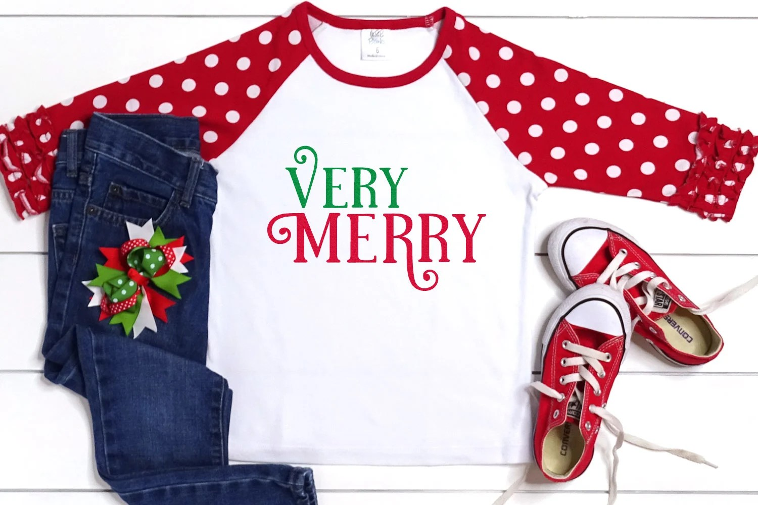 """Kid's t-shirt with """"Very Merry"""" in The Holidays font"""