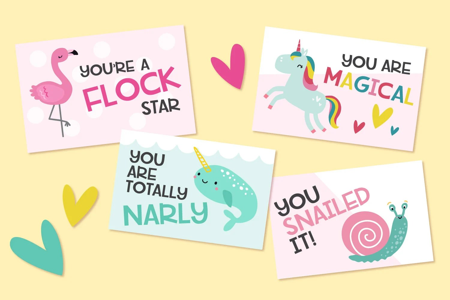 Mockup of animal pun valentines on a yellow background