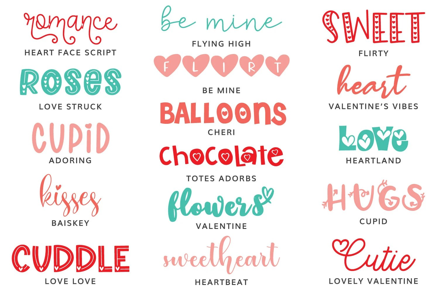 All Valentine's Day Fonts featured in this post