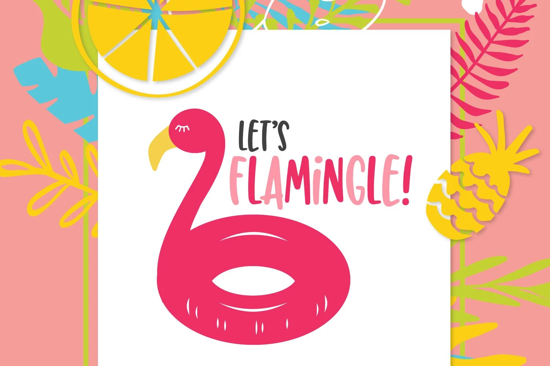Let's Flamingle SVG on Tropical Background