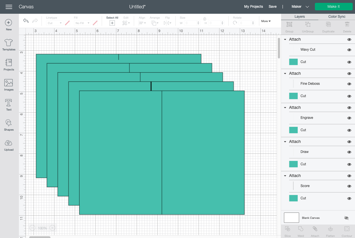 Cricut Design Space: showing all the different linetypes possible