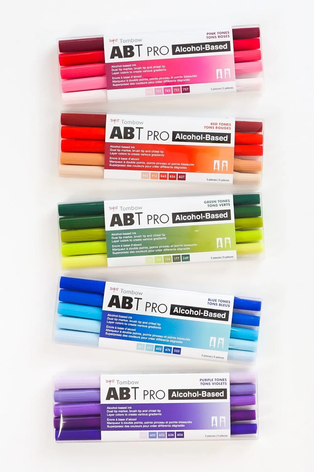 ABT PRO markers in packaging—all the five packs