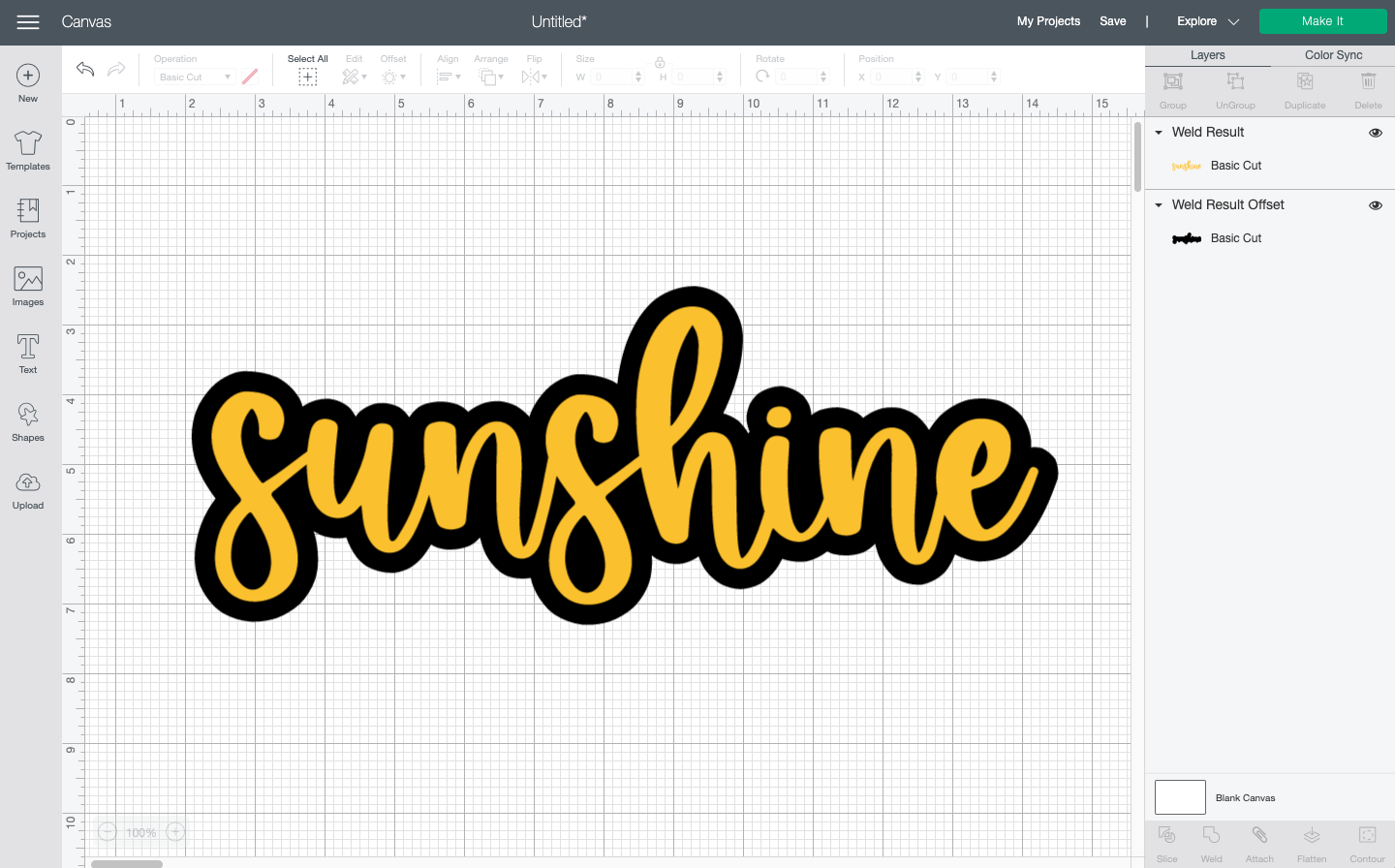 """Cricut Design Space: Showing finished offset in black on the word """"sunshine."""""""