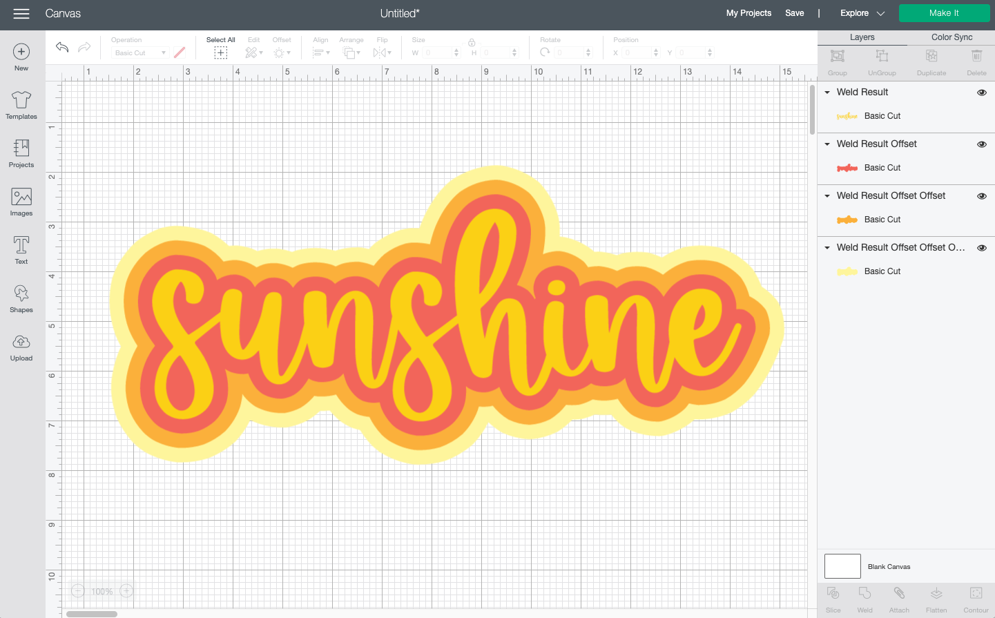 """Cricut Design Space: The word """"sunshine"""" with three offset layers to create a """"retro"""" look"""