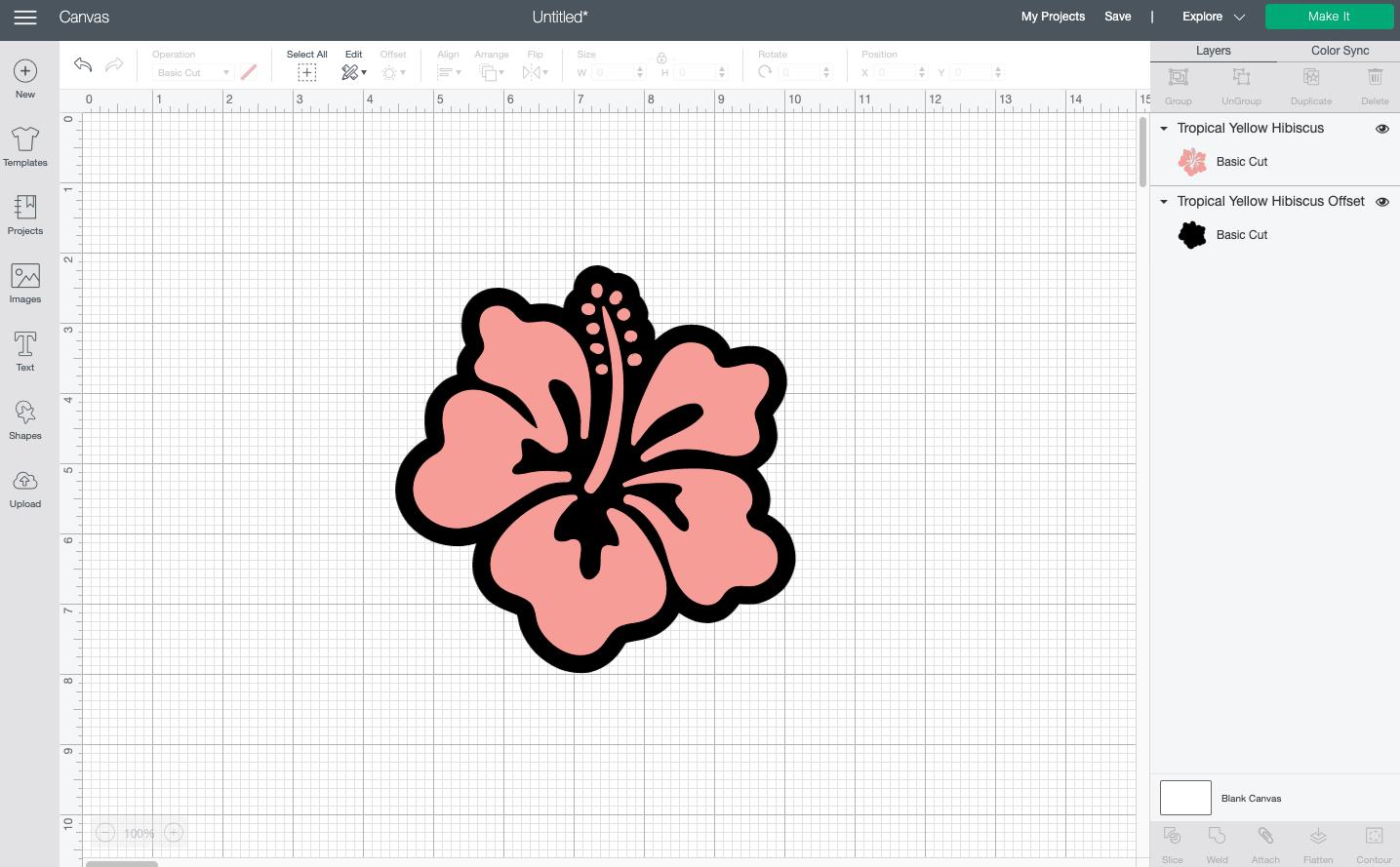 Cricut Design Space: Offset on hibiscus flower