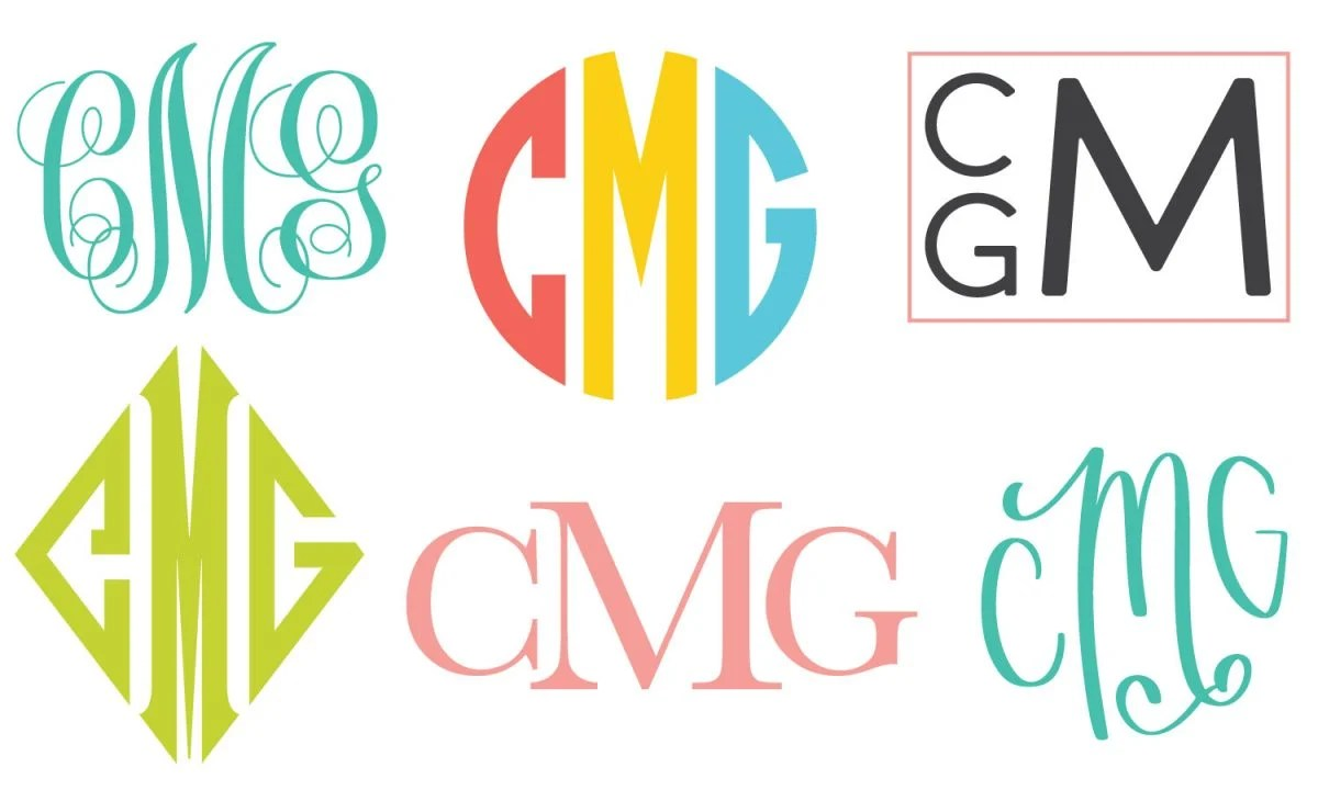 "Six styles of three-letter monogram ""CMG""s"