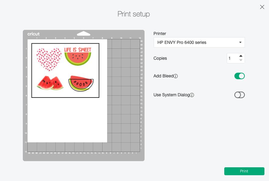 Cricut Design Space: Print Set Up Menu