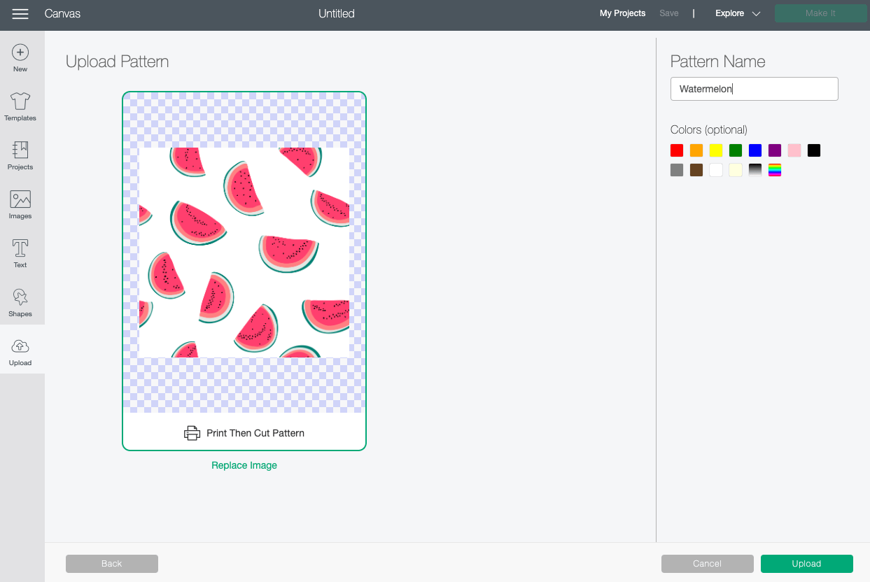 Cricut Design Space: Uploaded watermelon pattern